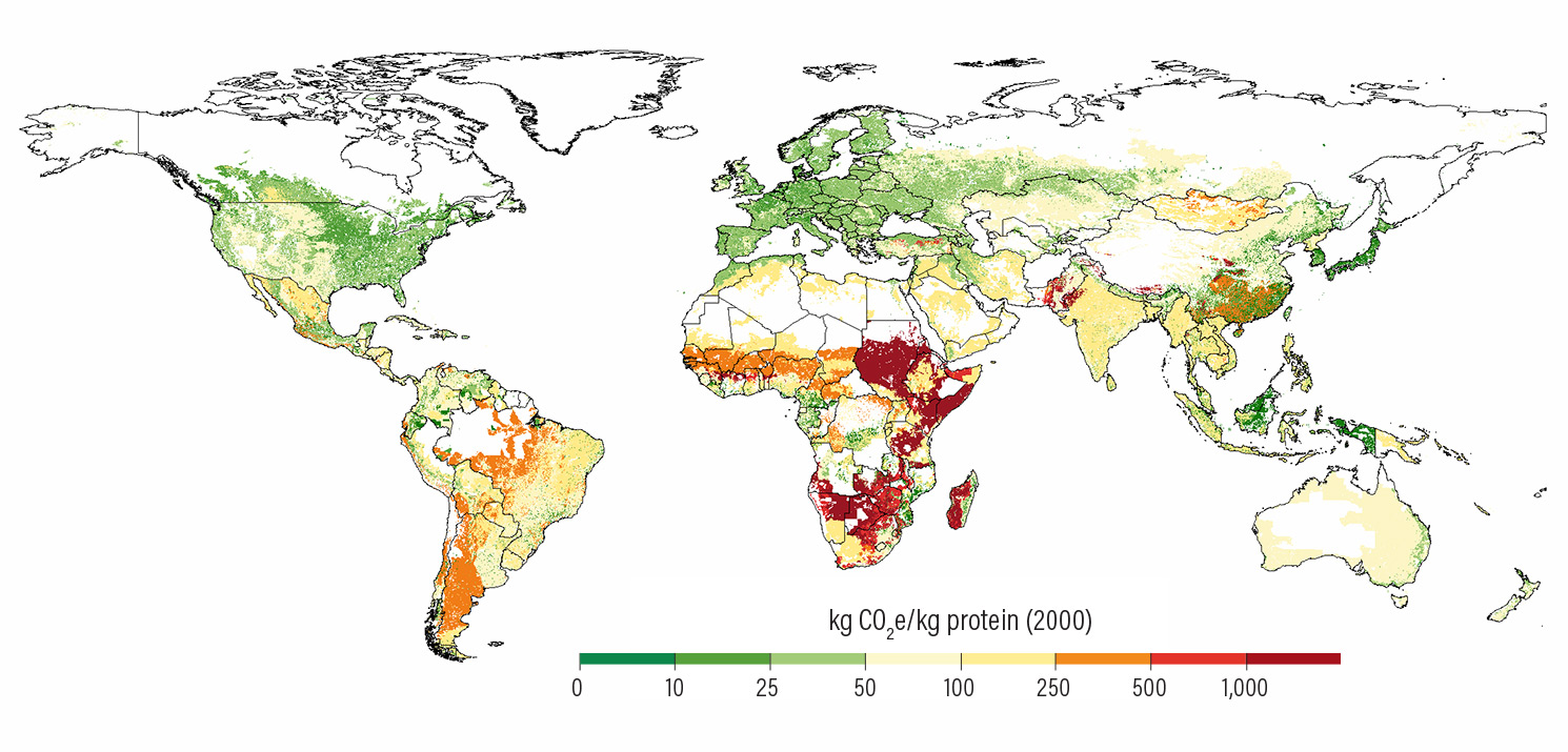 Figure 9 | Improvements in crop and livestock productivity already built into the 2050 baseline close most of the land and GHG mitigation gaps that would otherwise exist without any productivity gains after 2010