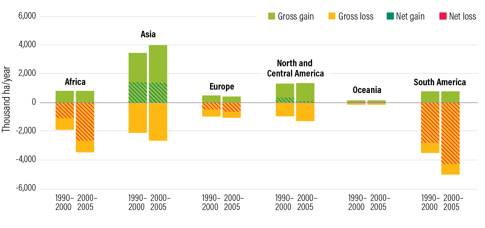 Figure 12 | Gross forest losses are far greater than net forest losses because agricultural lands are shifting